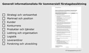 Informationslista Kommersiell företagsbesktning Information request list commercial due diligence