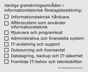 Granksningsområden informationsteknisk företagsbesiktning