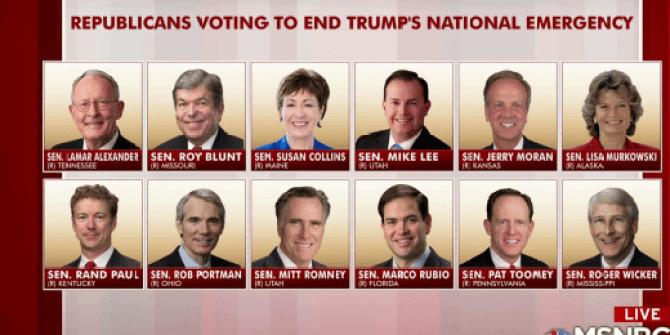 Image result for 12 Gop Senators voted against President TRump on National Emergency