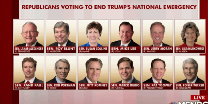 Image result for 12 Gop Senators voted against President TRump on National Emergency