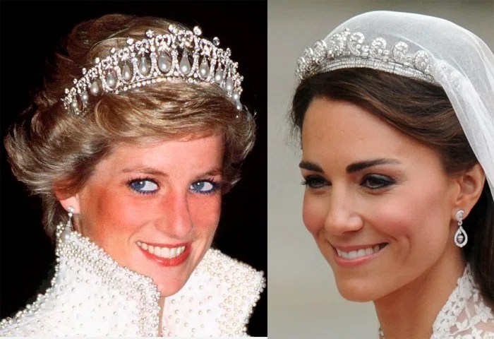 Princess Diana, Duchess Kate wearing tiaras