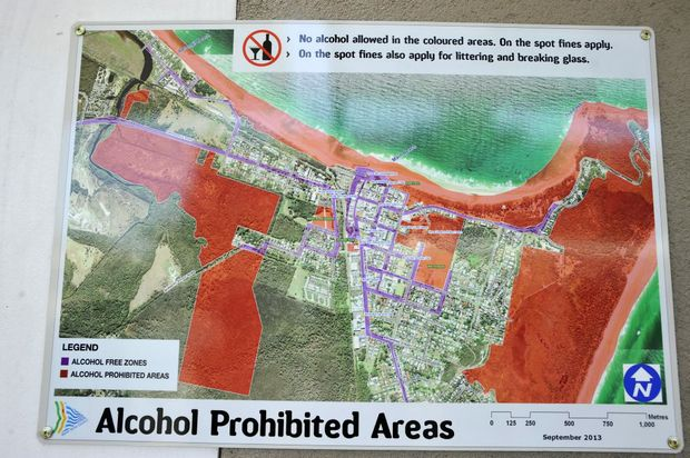 Map of the Alchohol Prohibited Areas in Byron Bay. Photo Mireille Merlet-Shaw / The Northern Star