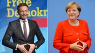 Der FDP-Vorsitzende Christian Lindner und Bundeskanzlerin Angela Merkel (Fotomontage)
