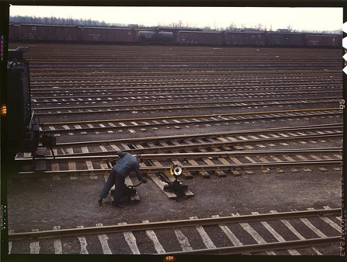 Throwing a switch; Proviso Yard; 1943