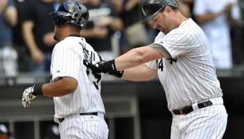 Against the Tigers on Saturday, Adam Dunn gave Jose Abreus back a high-ten as he made sure he didnt miss the plate after hitting his final homer as a White Sox.