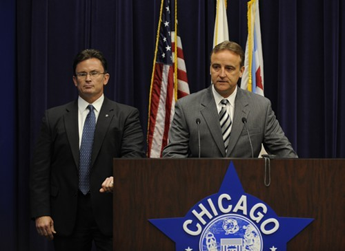 Chicago police officials announce murder charges against Jason Austin in 2008. The charges were later dropped, and several witnesses allege that they were coerced or beaten into implicating Austin.