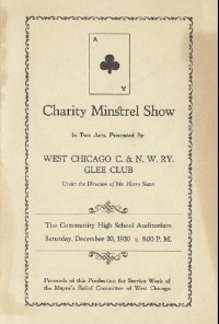 Cover of the playbill of the 1930 West Chicago Charity Minstrel Show.