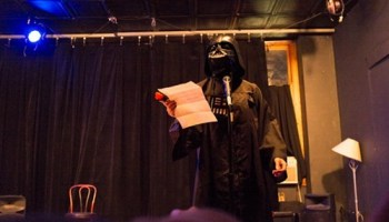 Darth Vader made it out to Flat Iron Comedys opening night.