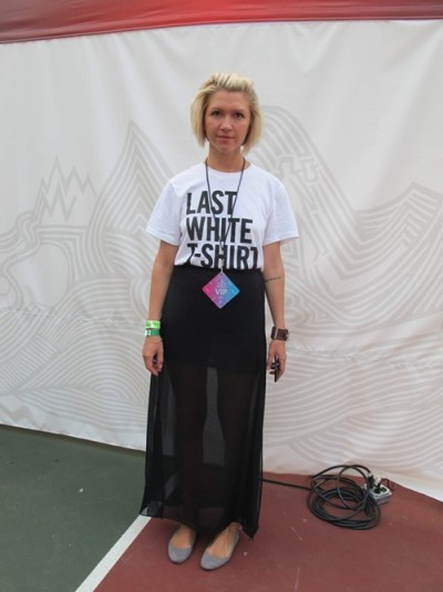 Iris. Came to see: Danny Brown. Why this outfit? Because its my last clean white T-shirt! And this skirt my husband gave me last month because he thought Id look hot in it.
