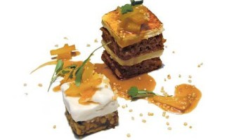 Mindy Segals carrot cake with cheesecake and walnut bar with coconut sorbet