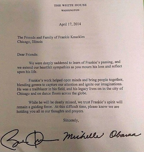 President Obamas letter to Frankie Knuckless friends and family