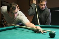 Steve Zissis (left) and Mark Kelly duel to the death in The Do-Deca-Pentathlon