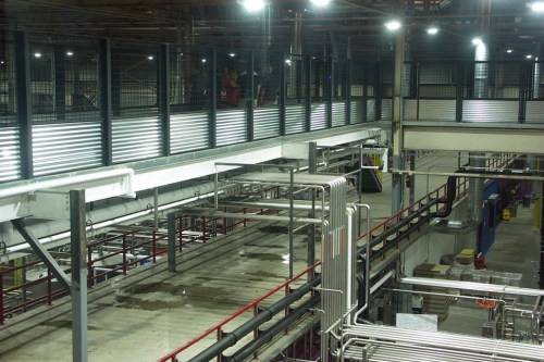 The catwalks over the brewery. At the top toward the left, you can just barely see a few folks checking out the equipment.