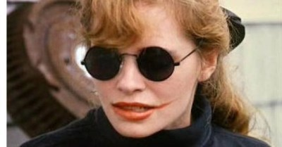 The late Adrienne Shelley in The Unbelievable Truth; Plazas smeared lipstick in Rifle pays homage to her performance in this film