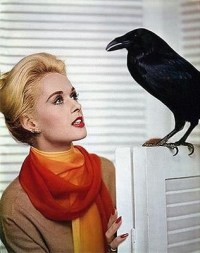 Tippi Hedren and friend in a publicity shot for The Birds (1963)