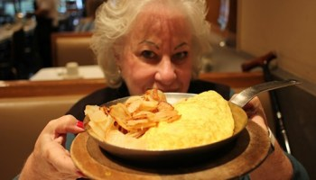 Back to front: Ina Pinkney, eggs and potatoes.