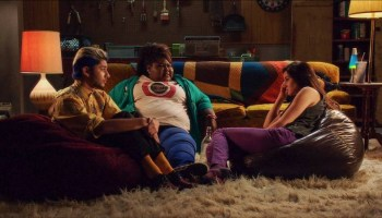Woodley (right) with Gabourey Sidibe and Mark Indelicato in White Bird in a Blizzard