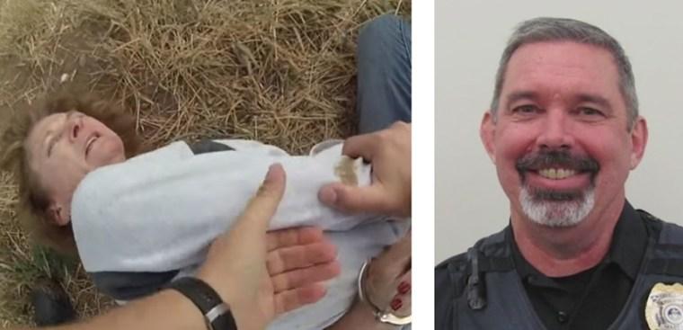 A screenshot from body-worn footage of Karen Garner's brutal arrest and a portrait of now former Loveland police sergeant Philip Metzler.  - LOVELANDS BY