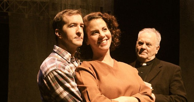 Jeff Schwager and Laura Caswell as Joe and Mary Laben, with Lee J. Campbell as Father Jimmy Tompkins.