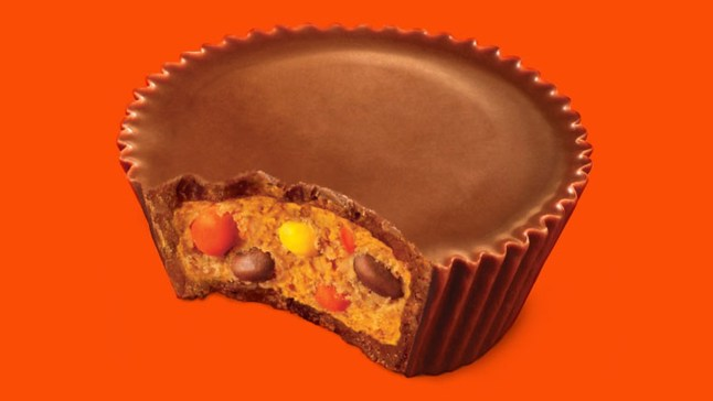 Image result for reese's peanut butter cups with reese's pieces inside
