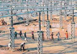 Power play: Work underway at Vedanta Alumina�s 1,215-MW coal-fired power plant in Jharsuguda