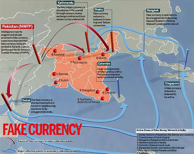 Fake Indian Currency Note (FICN) trail. (IMage courtesy - India Today). Click for larger image.
