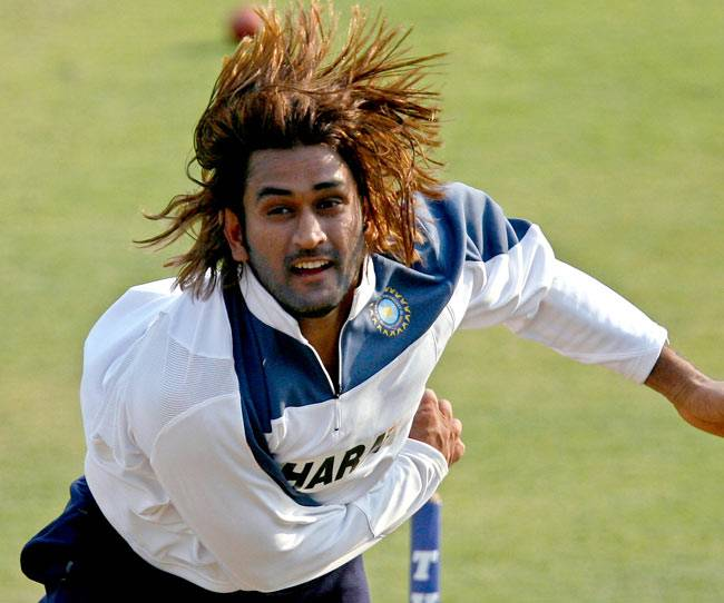 Image result for long hair look of dhoni
