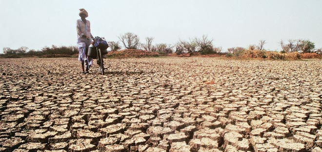 Drought-ravaged water in India, plagued by effects of global warming