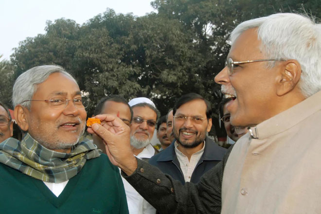 Shivanand Tiwari (right) with Bihar CM Nitish Kumar
