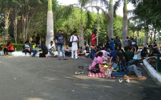 Protesting National Law Institute University in Bhopal.