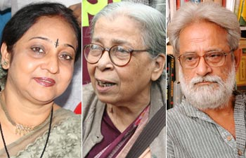 (From left) Indrani Sen, Mahasweta Devi and Bibhas Chakraborty