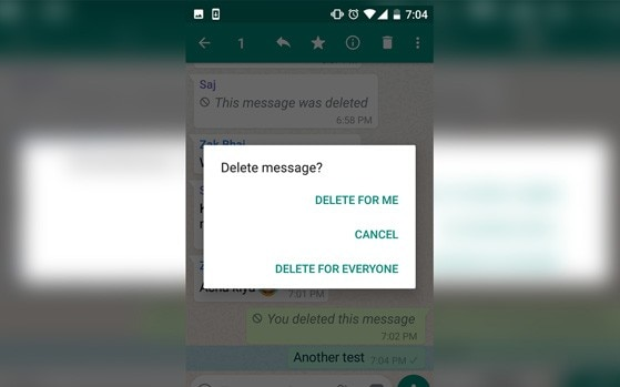 Image result for WhatsApp 'Delete for Everyone' feature