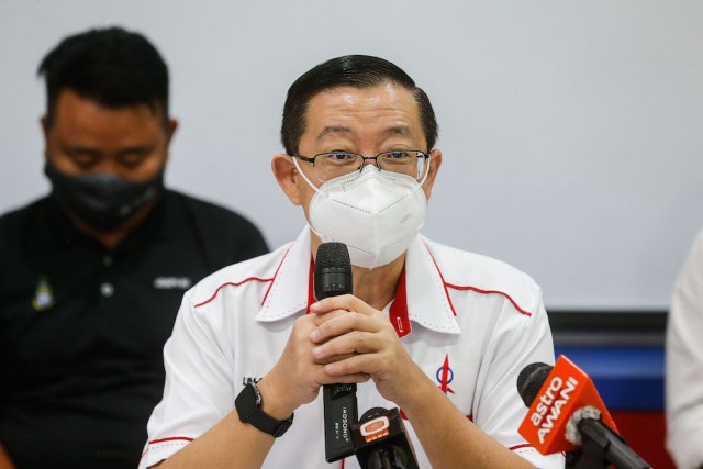 DAP Secretary General Lim Guan Eng speaks to the press at a press conference in Wisma DAP, George Town March 8, 2021. — Picture by Sayuti Zainudin