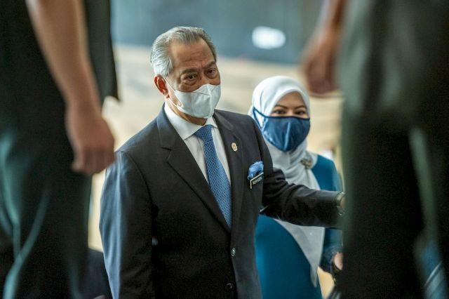 Tan Sri Muhyiddin Yassin attends the 'Setahun Malaysia Prihatin' event at the Putrajaya International Convention Centre March 1, 2021. — Picture by Shafwan Zaidon
