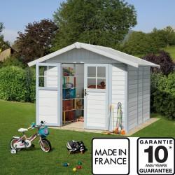 abri de jardin en pvc 4 9m deco blanc et gris bleu grosfillex kit ancrage offert