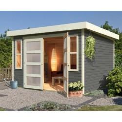 abri de jardin toit plat 6 55m bois gris 19mm muhlendorf 4 karibu