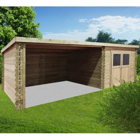 abri de jardin rohan 19 82m en bois traite autoclave 28mm avec terrasse couverte solid