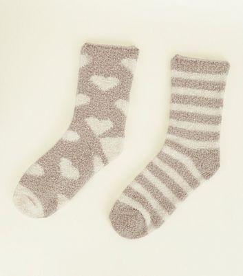 2 Pack Mink Heart and Stripe Fluffy Socks