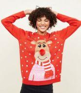 Red Knit 3D Reindeer Christmas Jumper