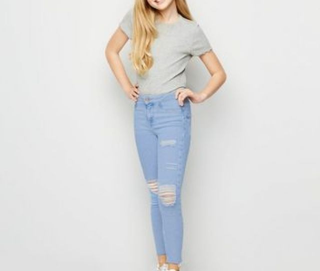 Girls Blue Bleached High Waist Ripped Skinny Jeans