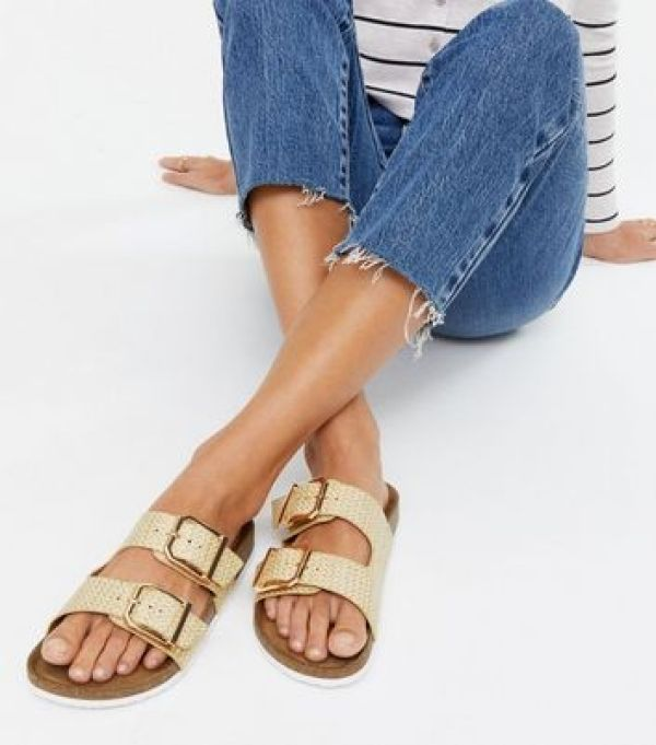 Cream Woven Buckle Footbed Sliders new look