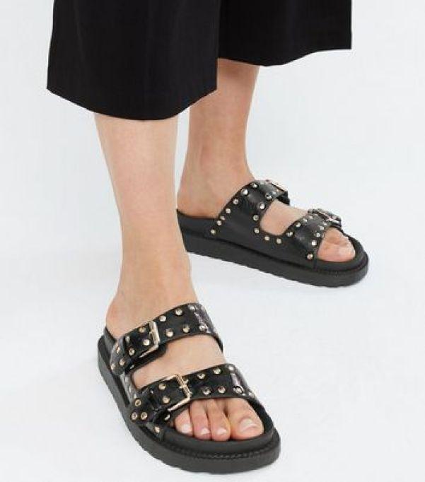 Black Studded Chunky Footbed Sliders new look