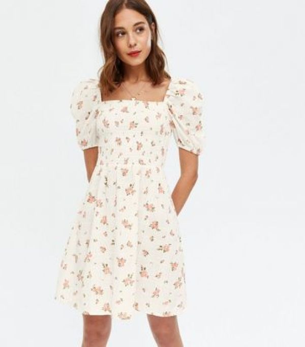 White Floral Shirred Puff Sleeve Mini Dress new look