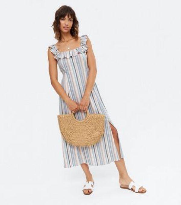 Blue Stripe Frill Square Neck Midi Dress