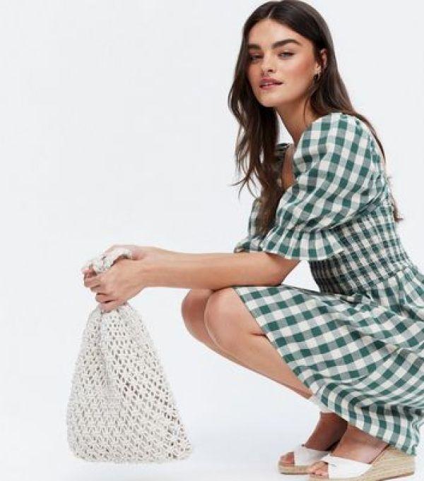 Green Gingham Shirred Mini Dress