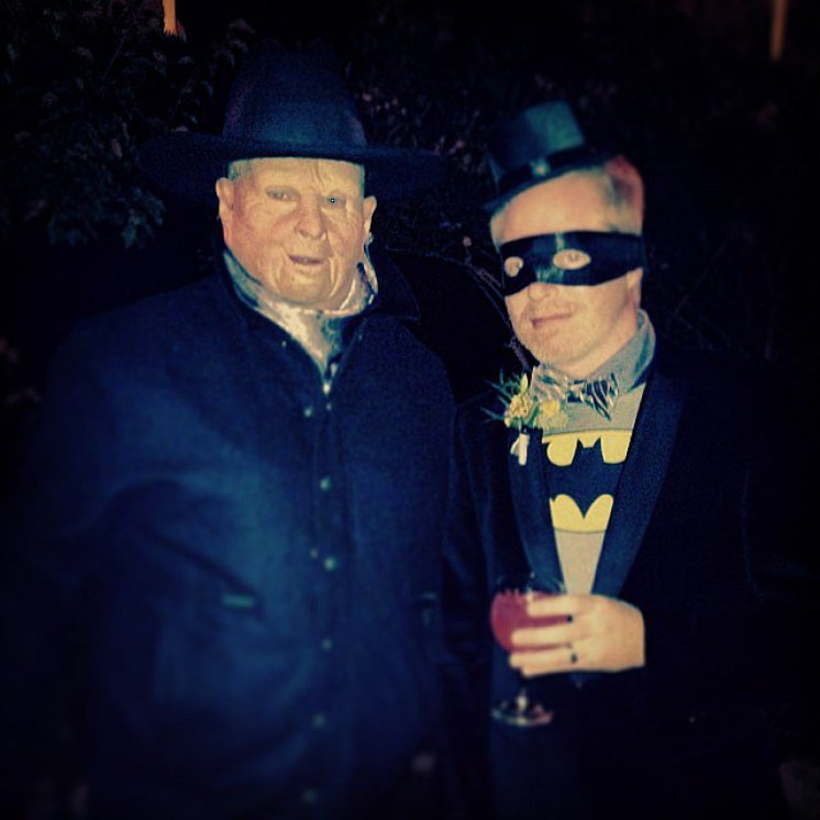 "Eric Stonestreet dressed as a ""scary ranch boss"" and posed alongside his Modern Family costar Jesse Tyler Ferguson as Batman.<br /><br /> Source: Instagram user ericstonestreet<br /><br />"