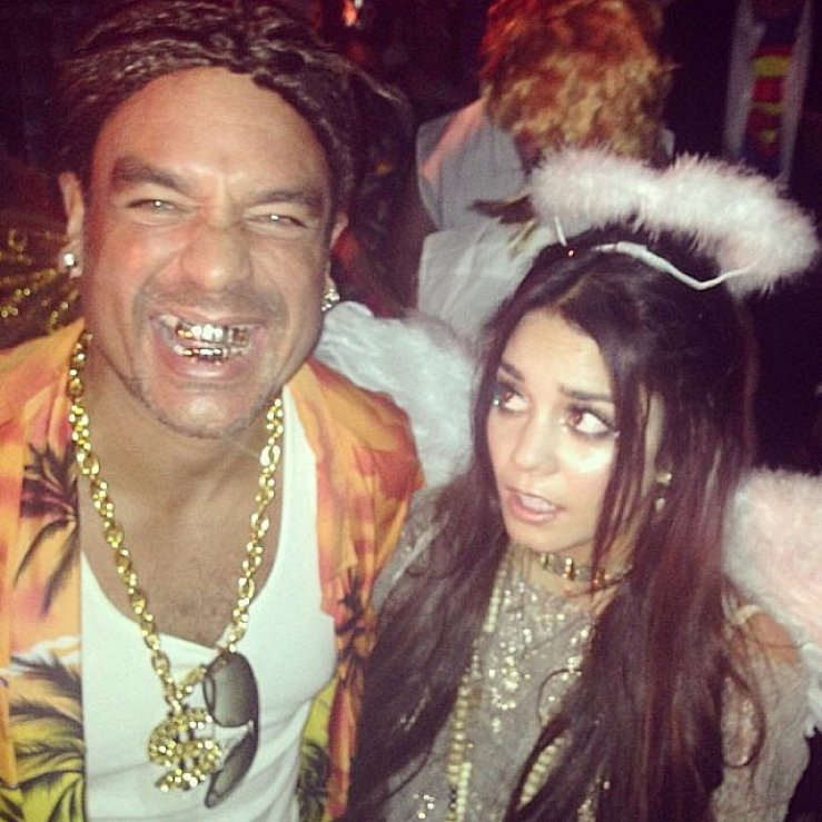 Vanessa Hudgens looked angelic for Halloween, making a funny face at her manager, who channeled Spring Breakers.<br /><br /> Source: Instagram user vanessahudgens<br /><br />
