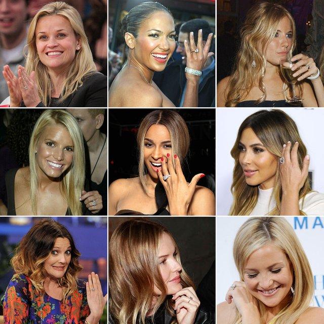 celebrities displaying their engagement rings