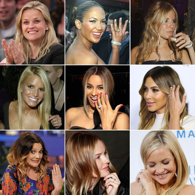 celebrities displaying their engagement rings