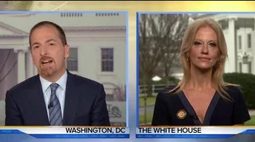 Image result for images of Conway on Jan. 22, 2017 with Chuck Todd